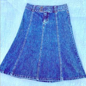 Vintage H&M Denim Patchwork Below Knee Skirt Aline